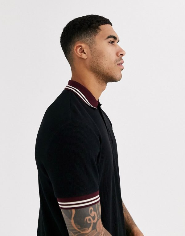 ASOS DESIGN polo shirt in waffle with contrast tipping in black