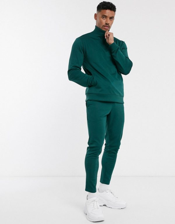 ASOS DESIGN poly tricot tracksuit with half zip in deep green