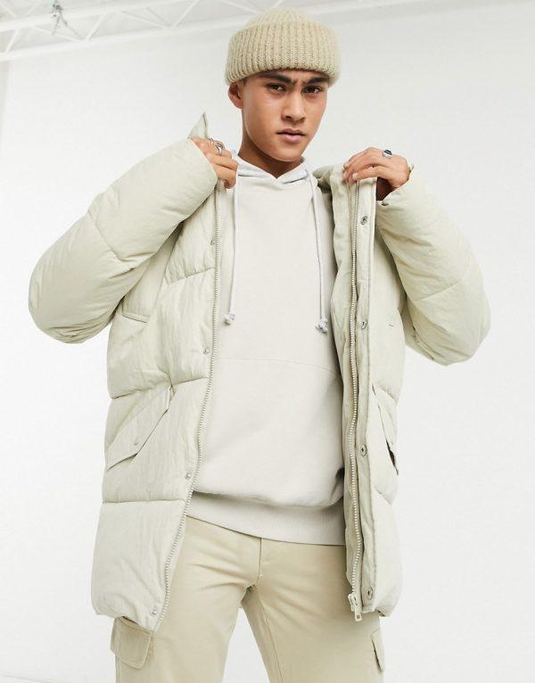 ASOS DESIGN puffer jacket in ecru-Cream