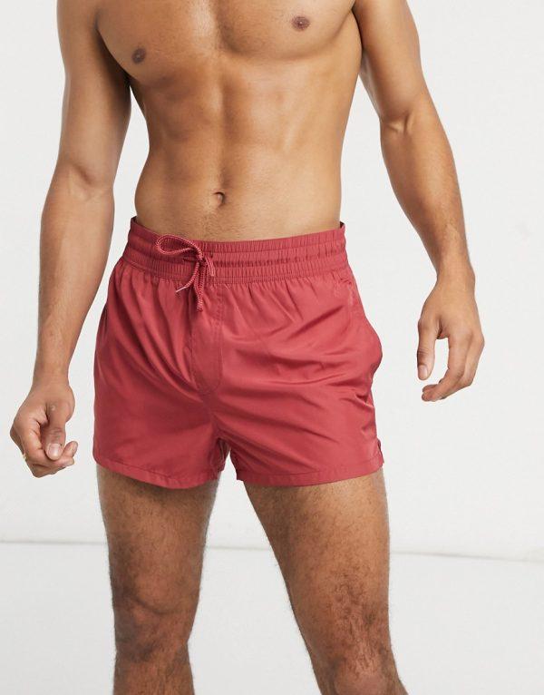 ASOS DESIGN quick dry swim trunks in super short length-Red