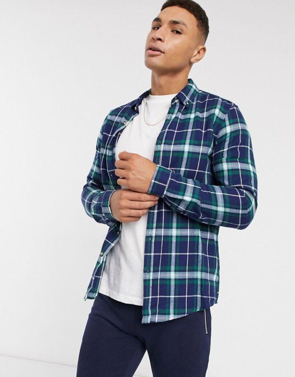 ASOS DESIGN regular check shirt in navy