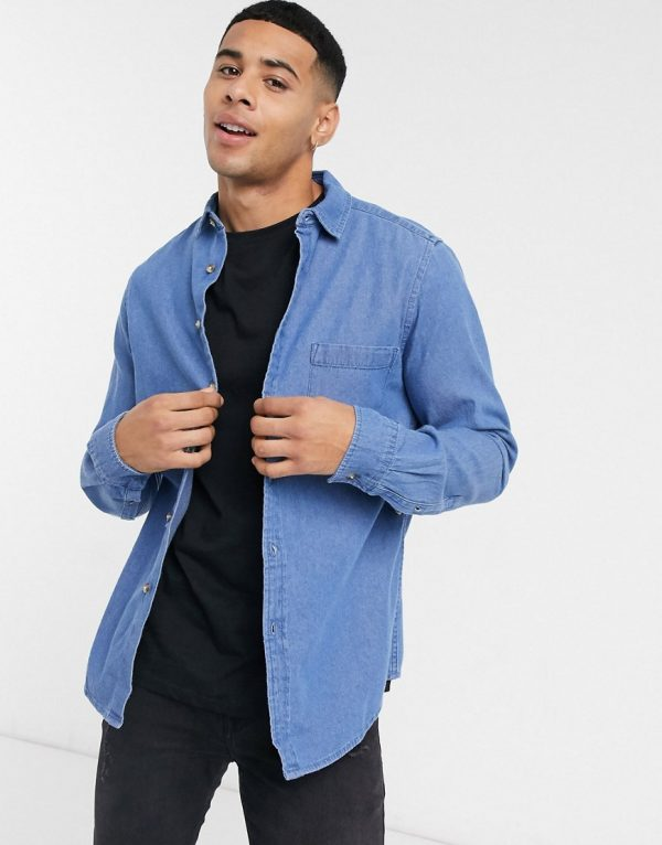 ASOS DESIGN regular fit organic denim shirt in mid wash-Blues