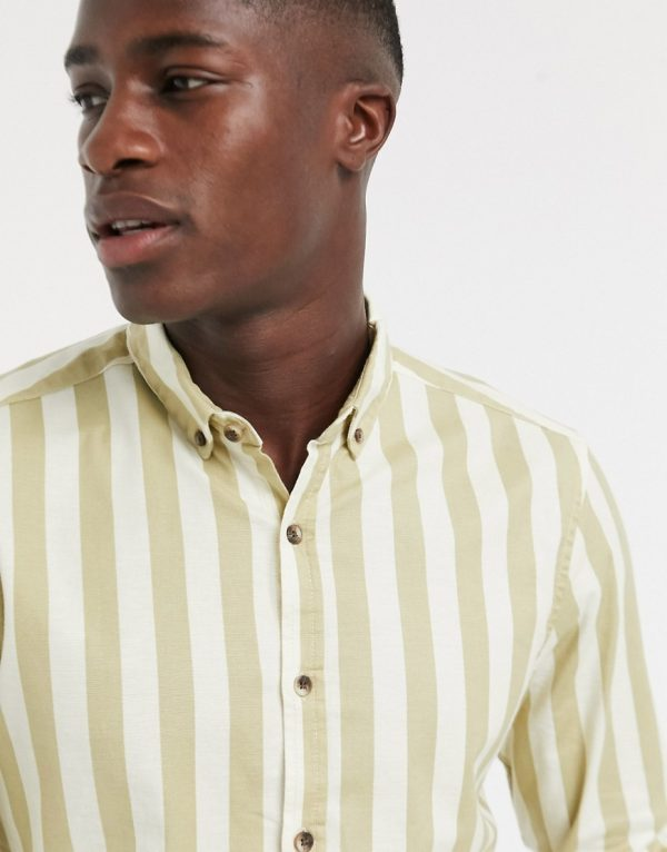 ASOS DESIGN regular fit oxford stripe shirt in beige-Neutral