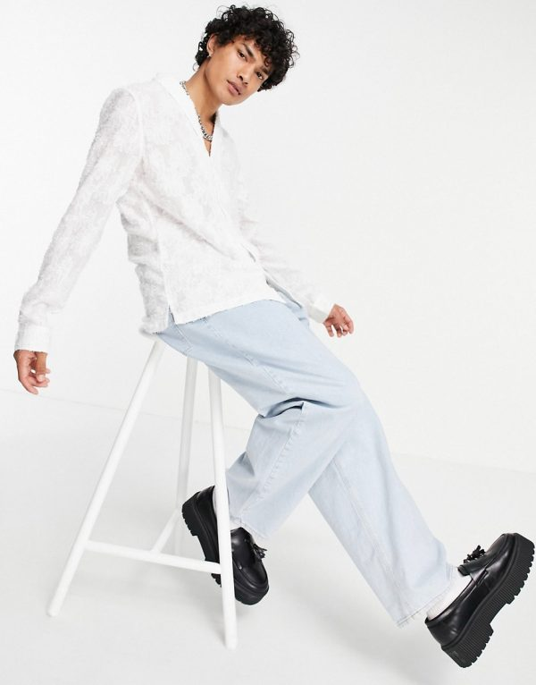 ASOS DESIGN regular fit shawl collar shirt in textured floral jacquard in white