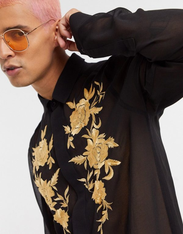 ASOS DESIGN regular fit sheer shirt with floral embroidery in black