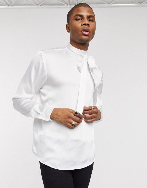 ASOS DESIGN regular fit tie front satin shirt in ivory-Beige