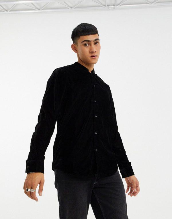 ASOS DESIGN regular fit velvet shirt with mandarin collar in black