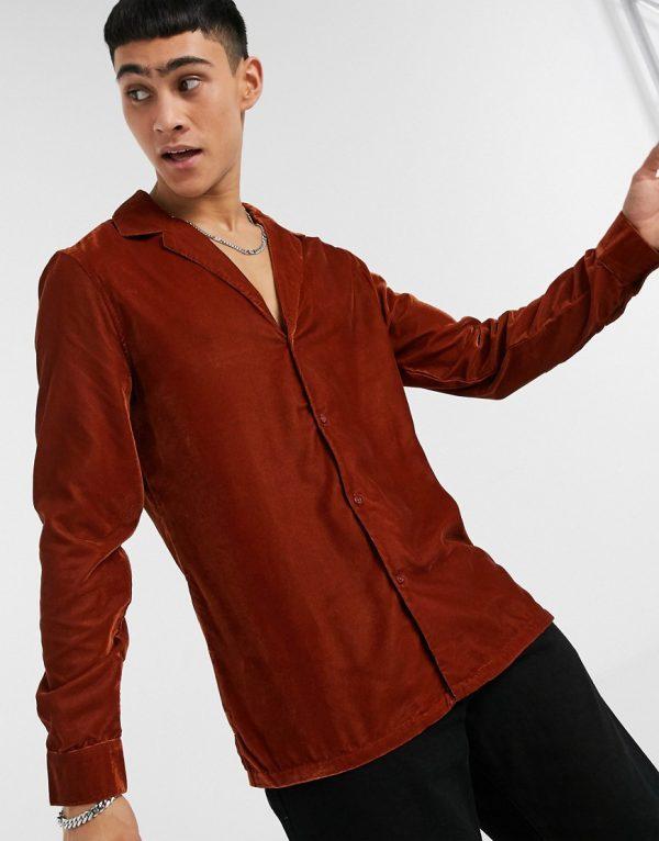 ASOS DESIGN regular fit velvet shirt with revere collar in brown