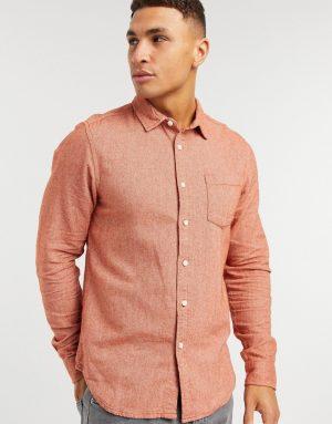 ASOS DESIGN regular flannel shirt in rust-Orange