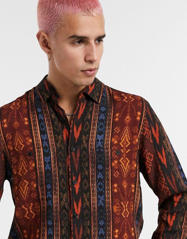 ASOS DESIGN regular vintage aztec print shirt in brown and orange