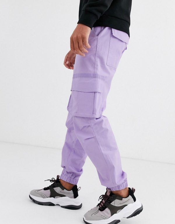 ASOS DESIGN relaxed cargo pants in lilac-Purple