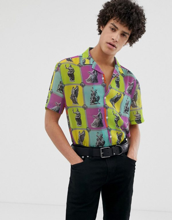 ASOS DESIGN relaxed fit shirt in sculpture tile print-Purple