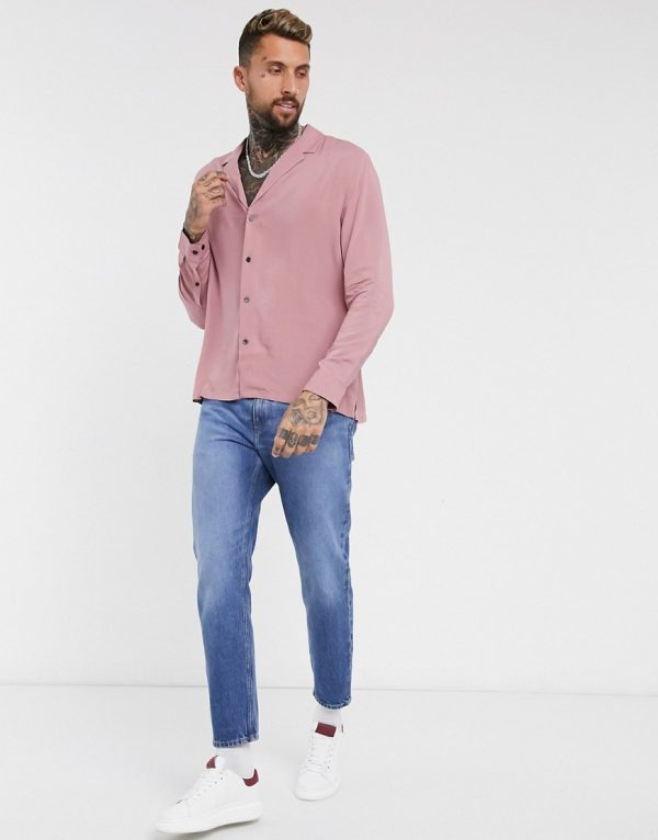 ASOS DESIGN relaxed fit viscose shirt with low revere collar in pink