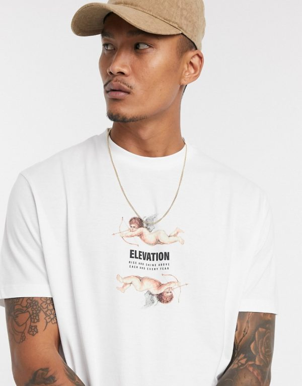 ASOS DESIGN relaxed organic t-shirt with cherub & text print in white