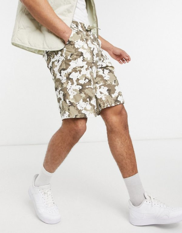 ASOS DESIGN relaxed shorts in washed camo with MA1-Green