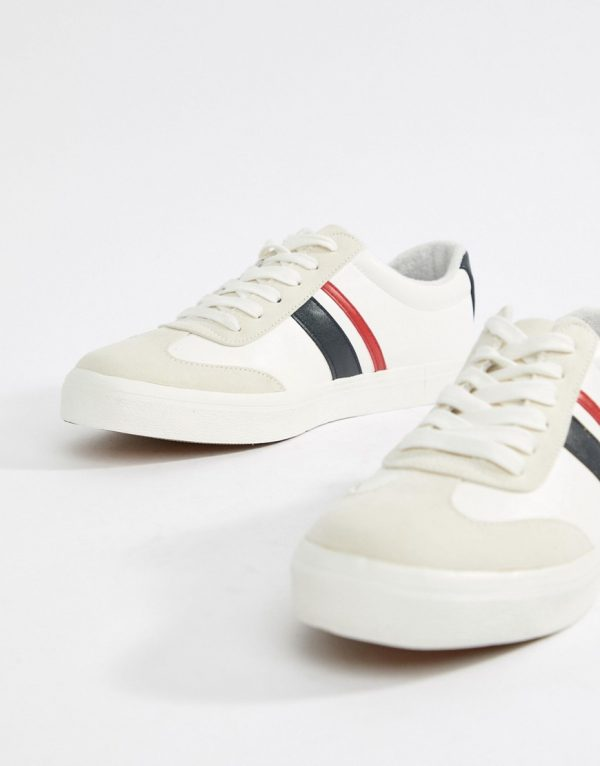 ASOS DESIGN retro sneakers in white with navy and red stripe