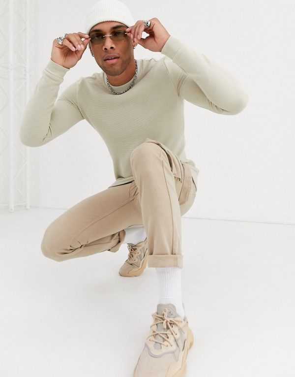 ASOS DESIGN ribbed sweatshirt in beige-Neutral
