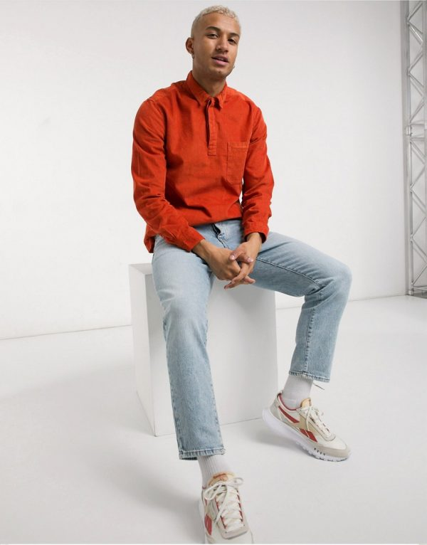 ASOS DESIGN rugby style overhead cord shirt in rust-Orange