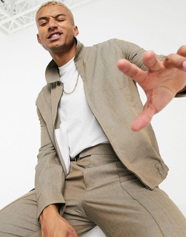 ASOS DESIGN set slim harrington jacket in brown