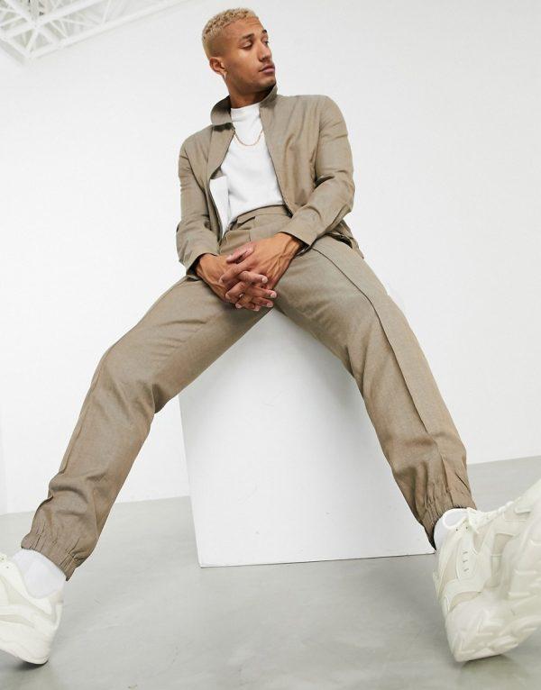 ASOS DESIGN set slim pants with sweatpants cuff in brown