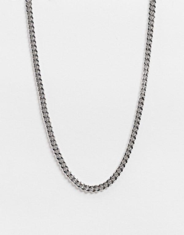 ASOS DESIGN short slim 4mm neckchain in silver tone