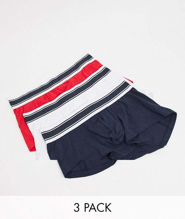 ASOS DESIGN short trunks 3 pack in red white and blue-Multi