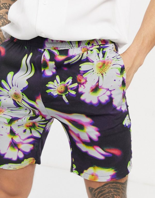 ASOS DESIGN shorter shorts in abstract floral print-Navy