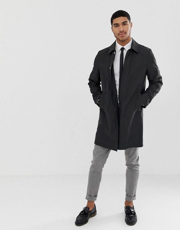 ASOS DESIGN shower resistant trench coat in black