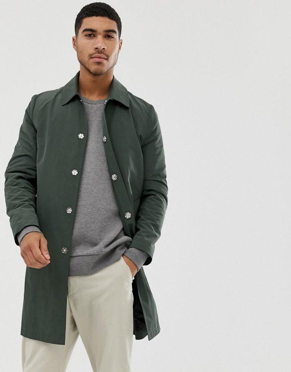 ASOS DESIGN shower resistant trench coat in green