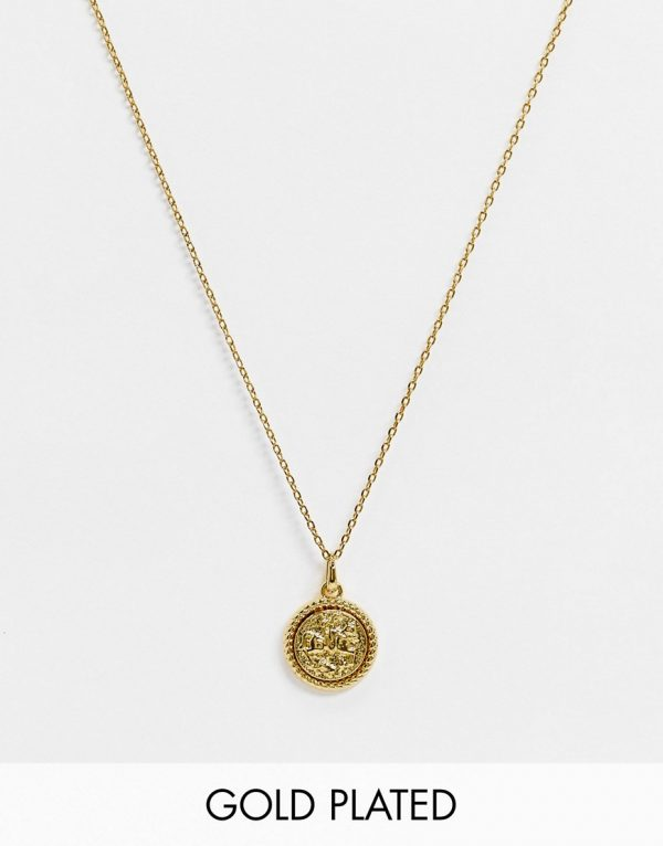 ASOS DESIGN skinny 1.5mm neckchain with coin pendant in 14k gold plate