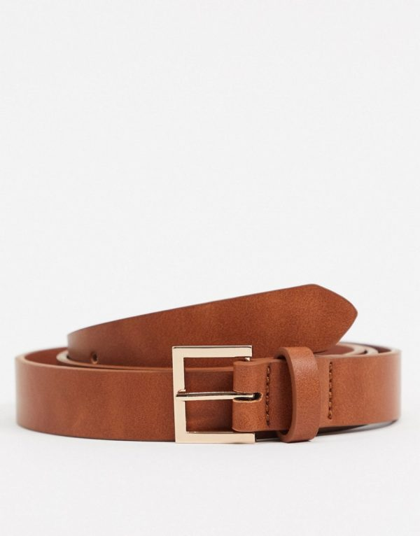 ASOS DESIGN skinny belt in tan faux leather with gold buckle-Brown