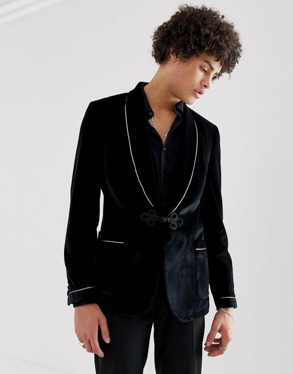 ASOS DESIGN skinny blazer in black velvet with frogging