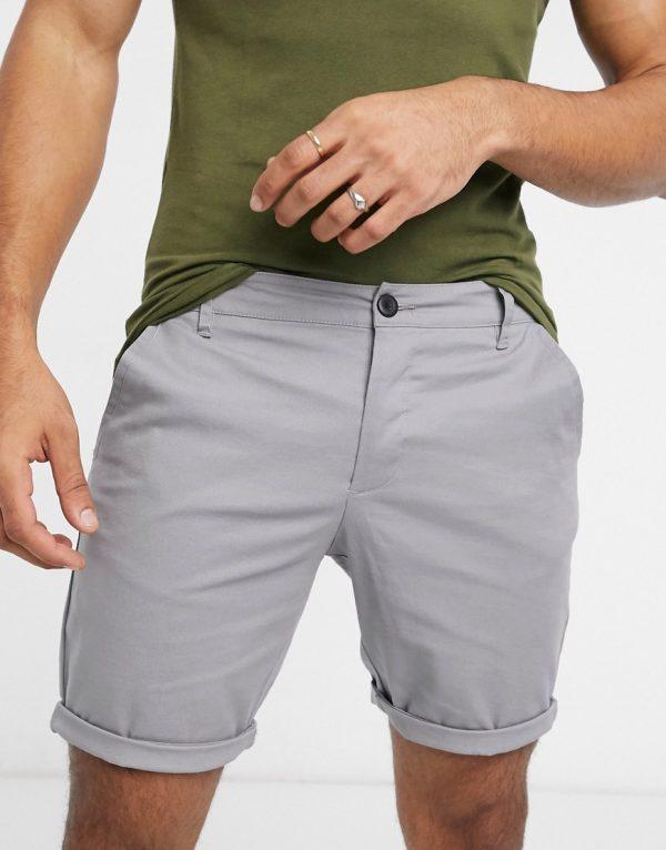 ASOS DESIGN skinny chino shorts in light gray-Grey