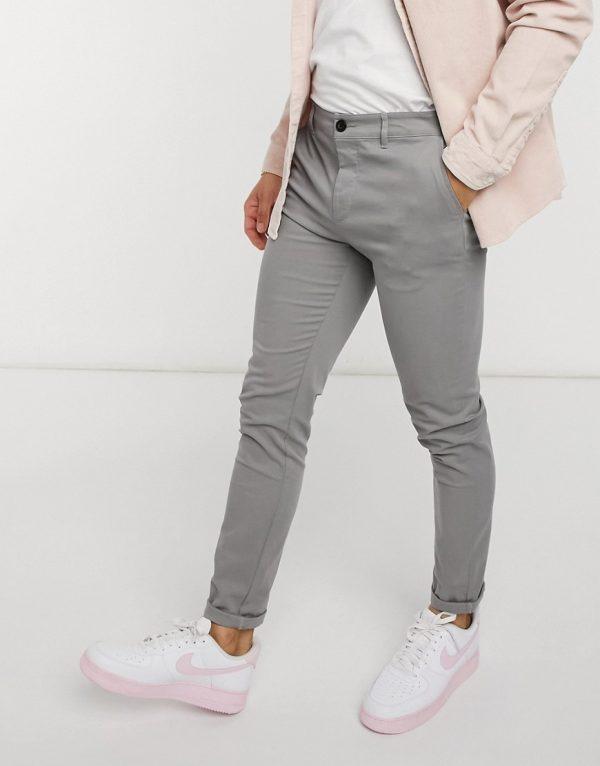 ASOS DESIGN skinny chinos in light gray-Grey