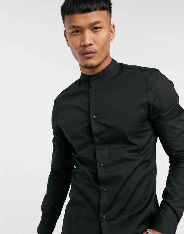 ASOS DESIGN skinny fit shirt in black with band collar