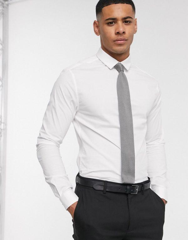 ASOS DESIGN skinny fit shirt in white