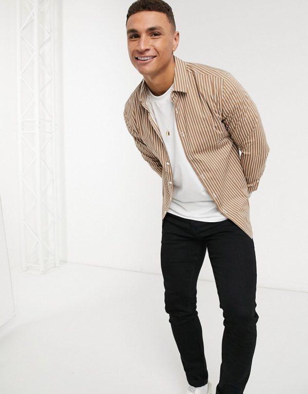 ASOS DESIGN skinny fit smart shirt in tan and white stripe-Brown