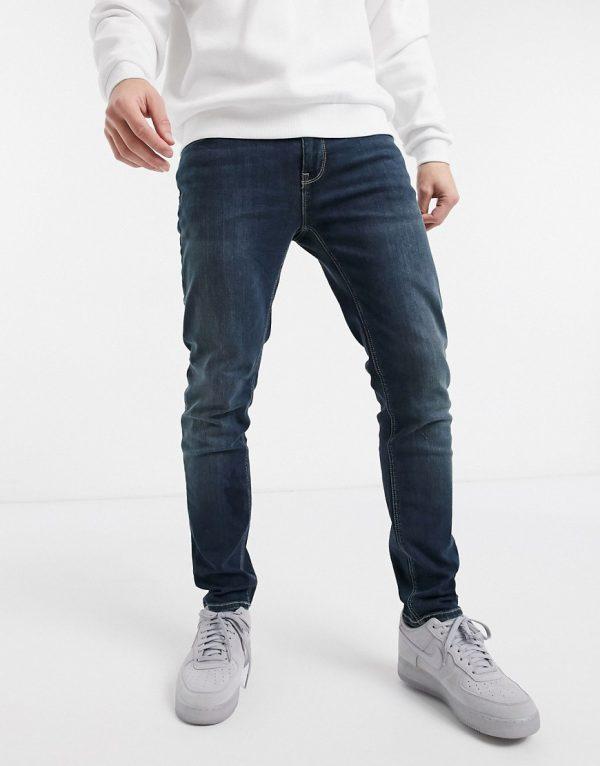 ASOS DESIGN skinny jeans in dark wash-Blues