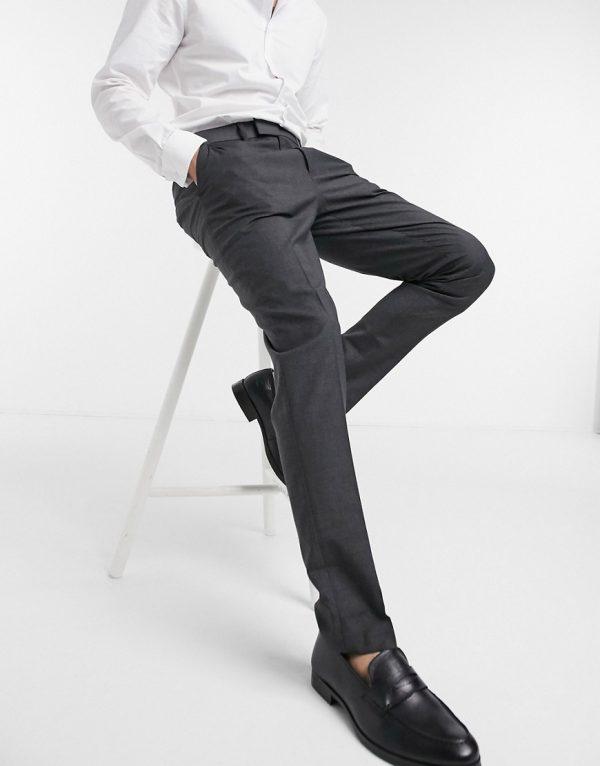 ASOS DESIGN skinny smart pants in charcoal-Gray