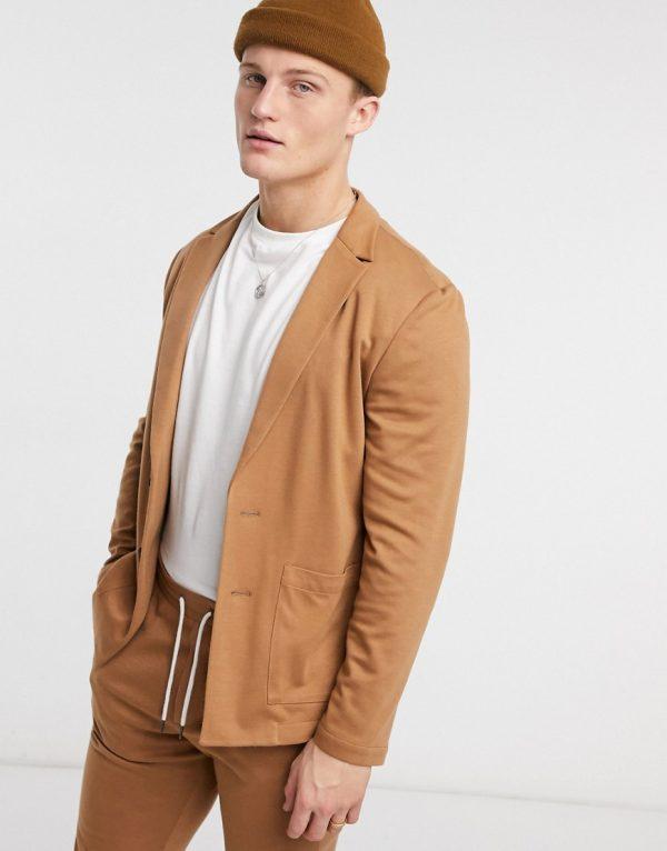 ASOS DESIGN skinny soft tailored suit jacket in jersey in tan-Brown