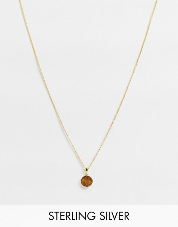 ASOS DESIGN skinny sterling silver 1mm necklace with tigers eye pendant in 14k gold plate