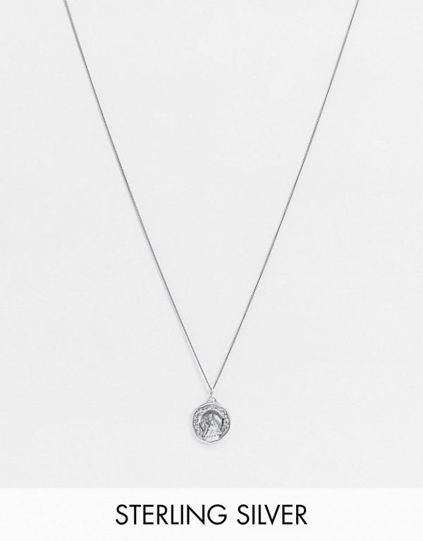 ASOS DESIGN skinny sterling silver 1mm necklace with wolf pendant in burnished silver