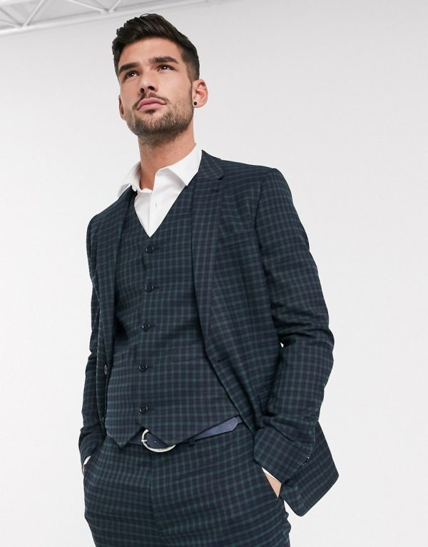 ASOS DESIGN skinny suit jacket in mini blackwatch plaid check in navy and green