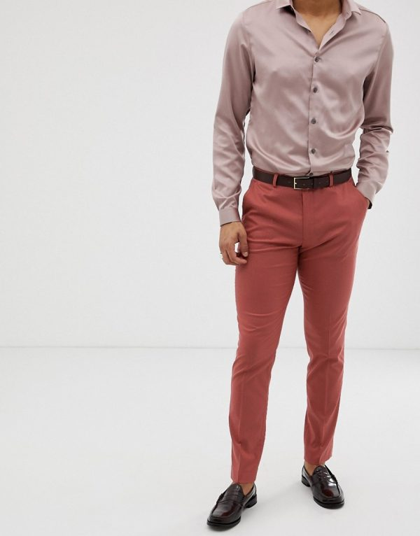 ASOS DESIGN skinny suit pants in pink