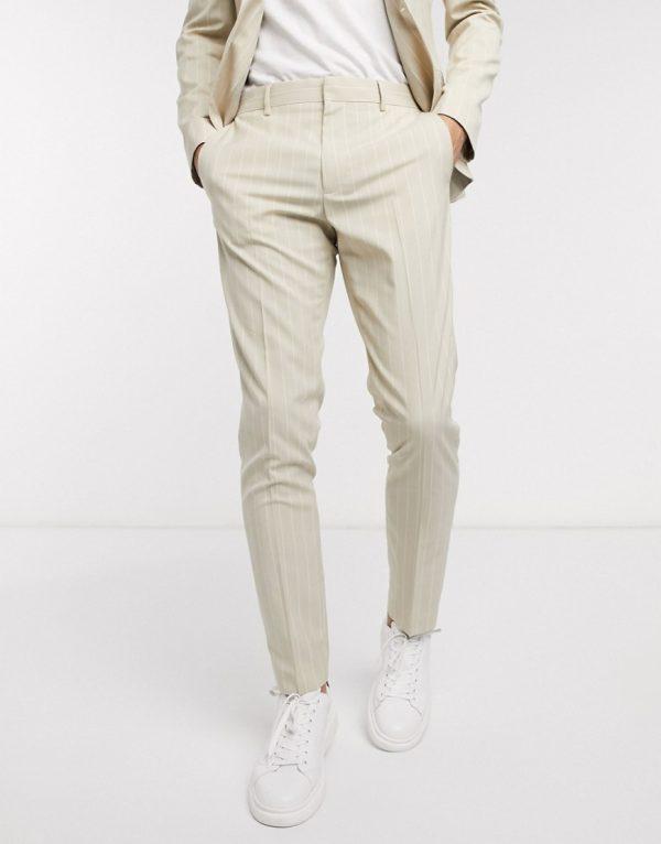 ASOS DESIGN skinny suit pants in stone pinstripe-Neutral