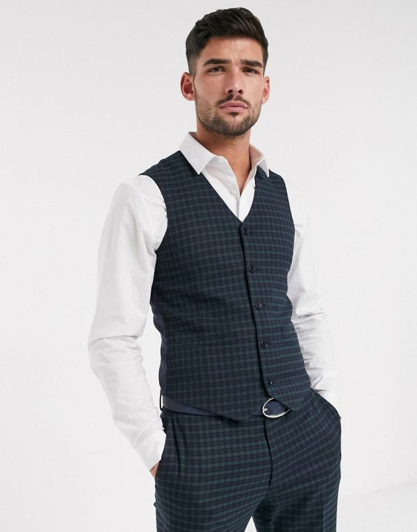 ASOS DESIGN skinny suit suit vest in mini blackwatch plaid check in navy and green