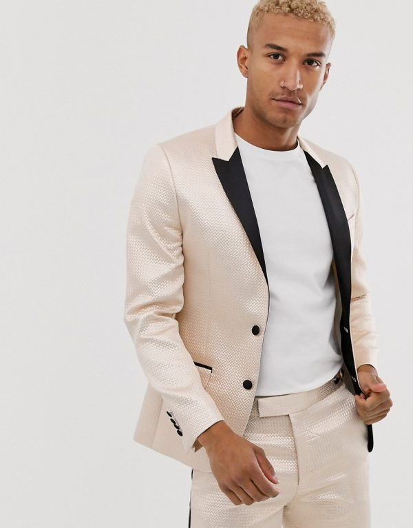 ASOS DESIGN skinny tuxedo prom suit jacket in champagne jacquard-White