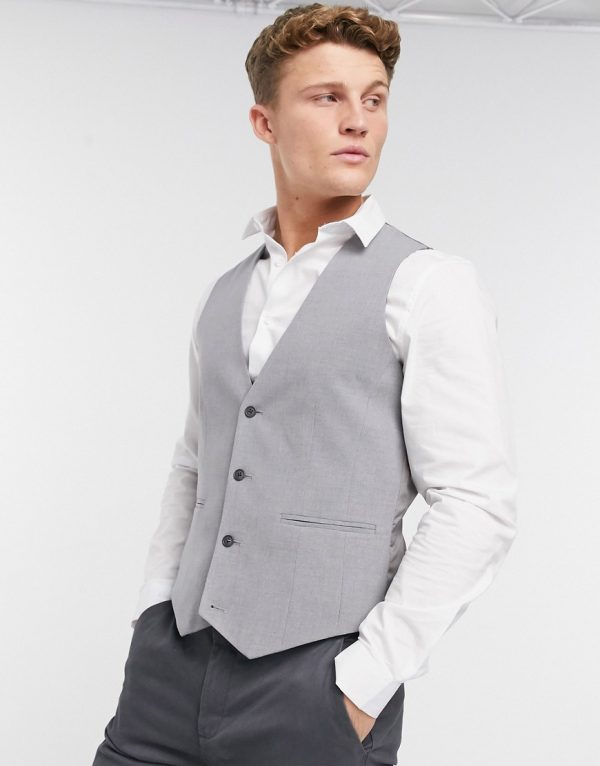ASOS DESIGN skinny vest in mid gray-Grey