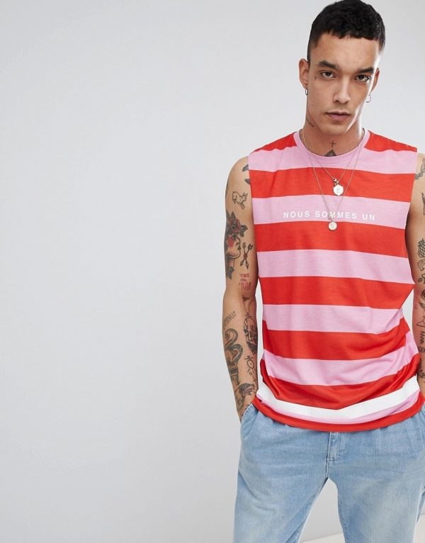 ASOS DESIGN sleeveless t-shirt with dropped armhole with stripe and french text print-Pink