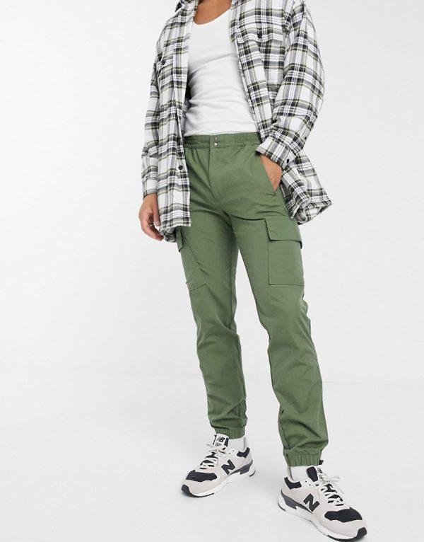 ASOS DESIGN slim cargo pants with toggle hem in khaki ripstop-Green